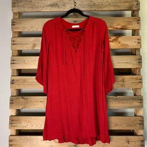 Lush Lace Up Red Dress